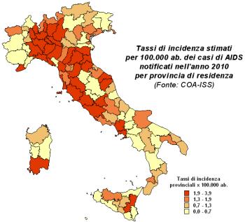 Immagine della mappa dei tassi di incidenza stimati per 100.000 abitanti dei casi di AIDS notificati nell'anno 2010 per provincia di residenza  (Fonte: COA-ISS)