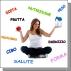 Immagine di ragazza seduta a gambe incrociate, in una mano tiene una mela e nell'altra un vaso di confettura, intorno a lei ci sono delle scritte: cibo, salute, benessere, acqua, frutta, ecc.