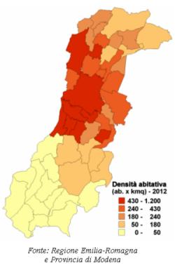 Mappa della densità abitativa per i comuni della provincia di Modena. Anno 2012