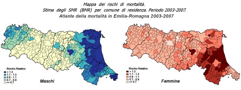 Immagine delle mappe dei rischi di mortalità per AIDS (stima degli SMR) per comune di residenza in Emilia-Romagna. Periodo 2003-2007