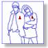 Immagine stilizzata di ragazzo e ragazza con il nastrino rosso appuntato al petto simbolo della lotto contro l'AIDS
