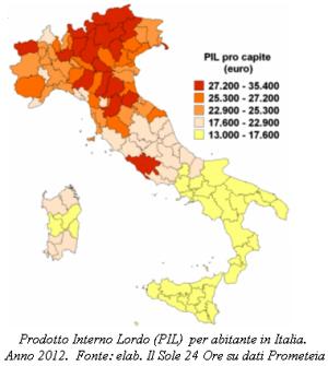 Cartina del Prodotto Interno Lordo per abitante in Italia. Anno 2012