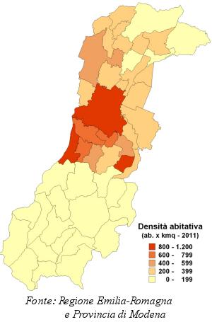 Mappa della densità abitativa per i comuni della provincia di Modena. Anno 2011