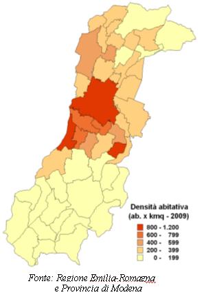 Mappa della densità abitativa per i comuni della provincia di Modena. Anno 2009