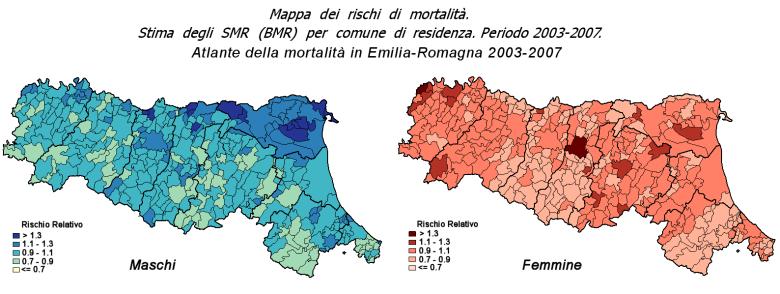 Immagine di mappe per maschi e femmine dei rischi di mortalità in Emilia-Romagna suddivisi per comune di residenza nel periodo 2003-2007