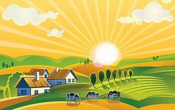 Disegno di una fattoria a ridosso di colline, con tre mucche al pascolo con lo sfondo di un'aurora