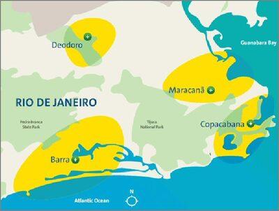 Carta geografica rappresentante le zone di Rio che ospitano i giochi
