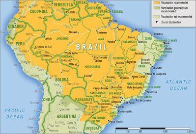 Carta geografica rappresentante le zone endemiche
