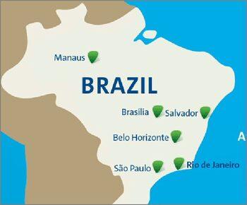 Carta geografica delle città che ospitano gare di calcio